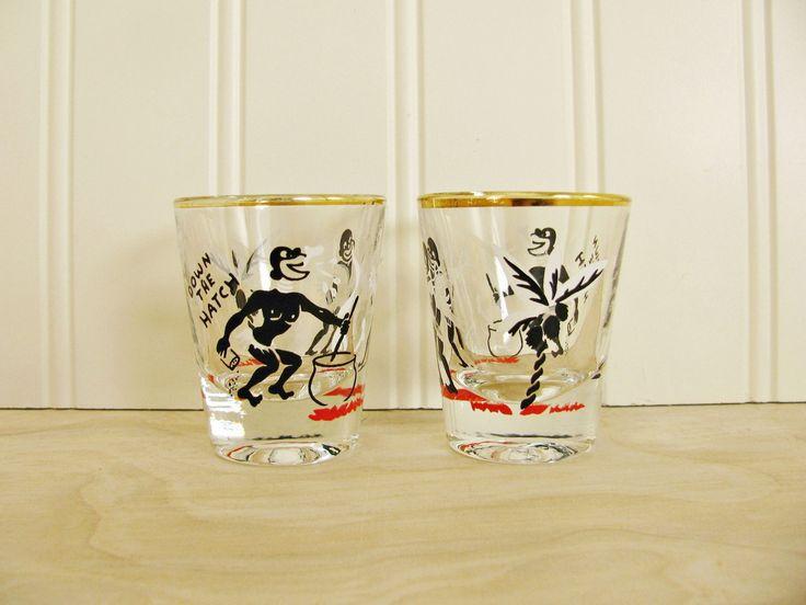 Vintage Native Shot Glasses Down The Hatch Rumpus Shot Glasses Cannibal Mid Century Shot Glass Set Funny Shot Glass Mid Century Barware by HipCatRetroVintage on Etsy