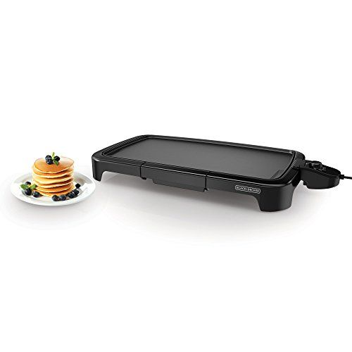 BLACK+DECKER GD2011B Family Sized Electric Griddle, 12 x 22-Inches, Black