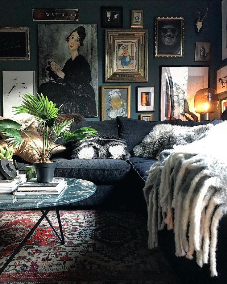 @bo_decor I dark moody decor I eclectic I gallery wall