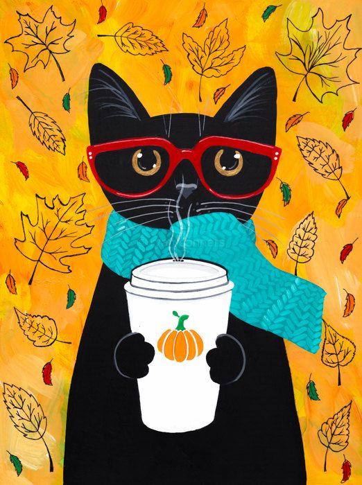 .Autumn Pumpkin Coffee Cat Original Folk Art by KilkennycatArt (Ryan Conners)