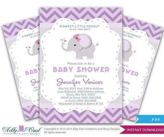 grey purple elephant invitation baby shower printable diy for girl