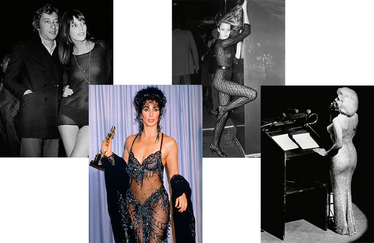 Серж Генсбур и Джейн Биркин, 1969. Шер на вручении «Оскара», 1988. Джерри Холл, 1976. Мэрилин Монро, 1962