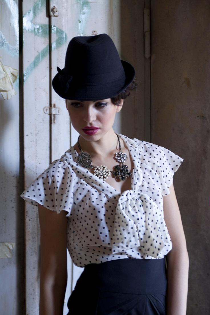 sweet Dots!!!H#my vintage necklace#my favorite hat by Paris!