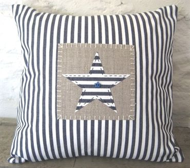 Blue Ticking Star Cushion