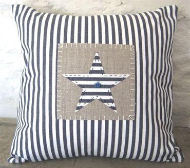 Blue Ticking Star Cushion