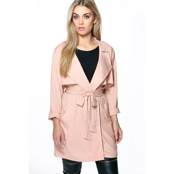 Boohoo Plus Plus Lexi Waterfall Trench ($52) ❤ liked on Polyvore featuring outerwear, coats, nude, duster trench coat, puff coat, wrap coat, trench raincoat and wrap trench coat
