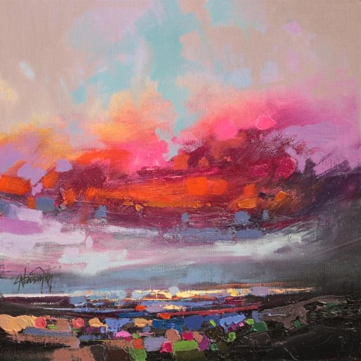 Staccato Loch Study 1 Scottish abstract skyscape oil painting by Scott Naismith
