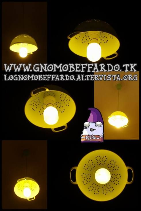 Colander chandelier by Lo Gnomo beffardo