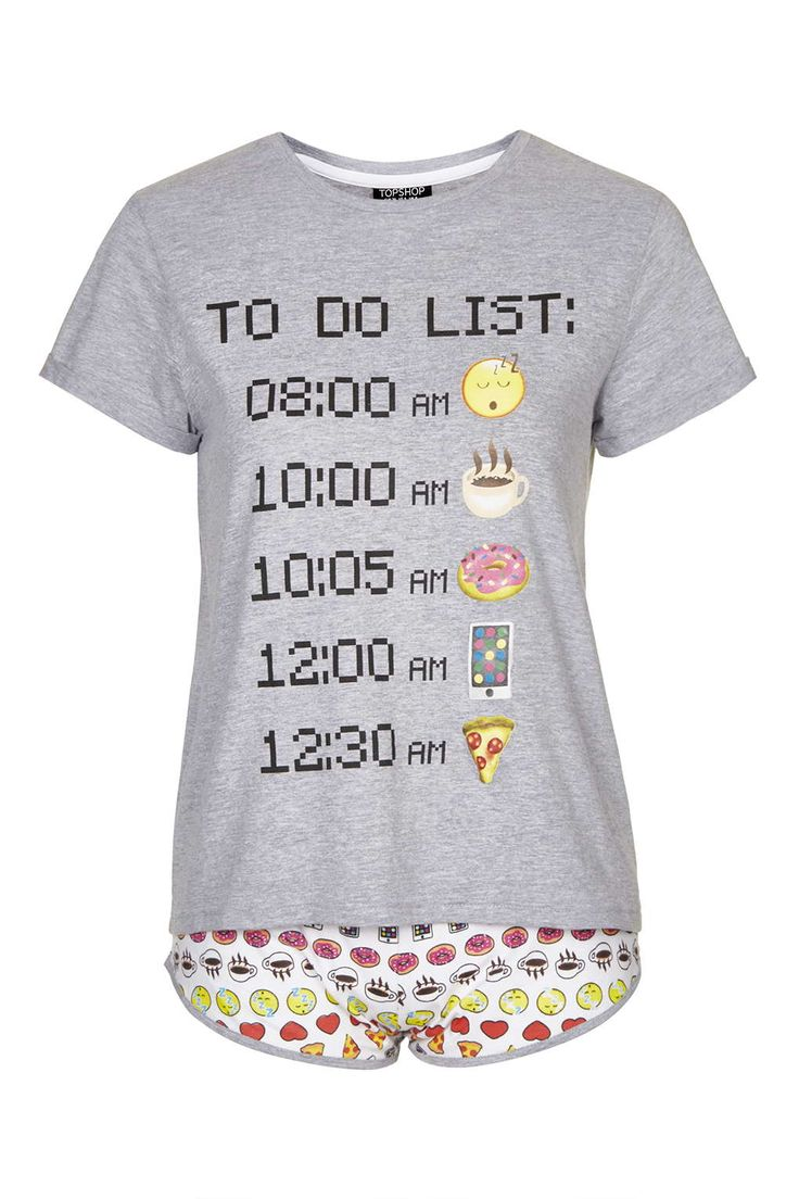 Emoji Pyjama Set - Nightwear - Clothing - Topshop