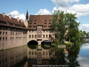 River Restaurant Heilig Geist Spital, once a Catholic hospice, in the heart of Nuernberg, regional specialties