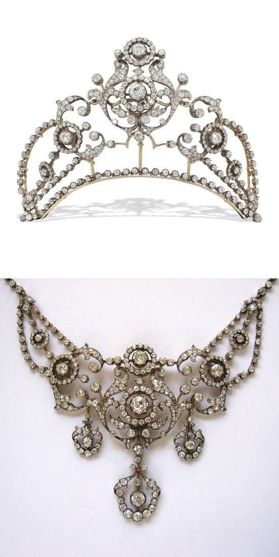 A diamond belle epoque tiara necklace combination, circa 1880. This features ornate diamond open-work foliate scrolls, with two graduating clusters of diamonds supporting the third central panel. All rising from a band of old-cut diamonds. This piece is believed to have sold for £62,500 to a private buyer.