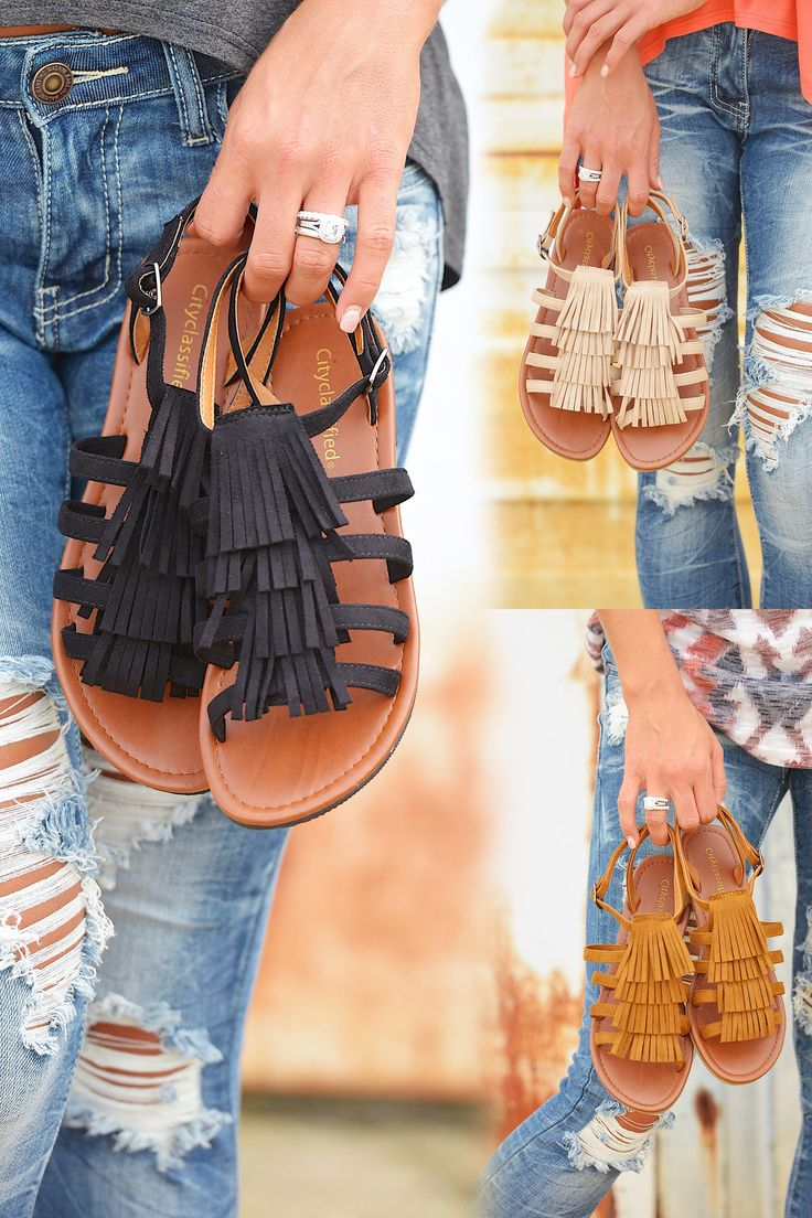 Colors of the Wind Fringe Sandals from Closet Candy Boutique