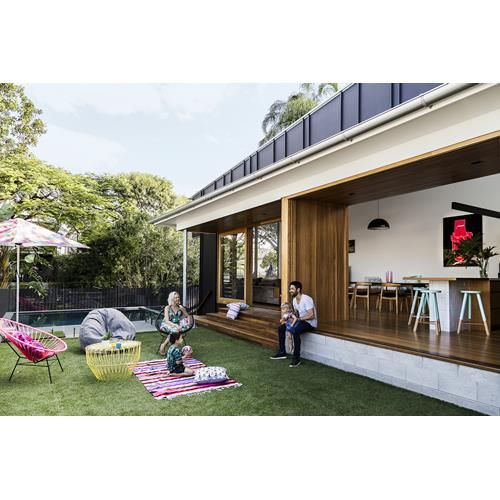 A post-war cottage in a flood-prone area near the Brisbane River has been revamped into a contemporary, split-level family home by architect Shaun Lockyer.