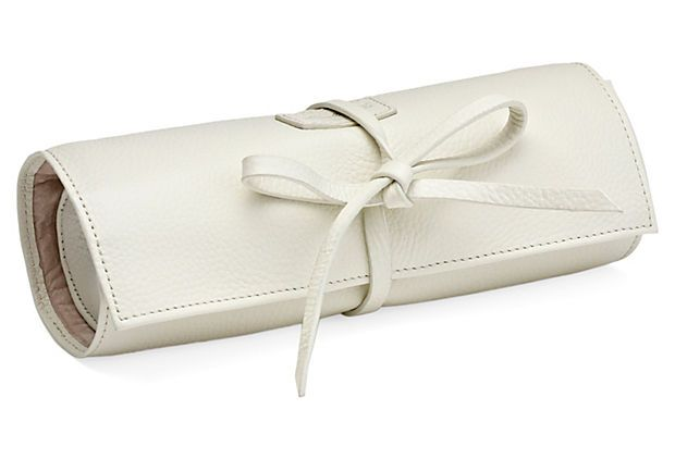 Great gift idea for your bridesmaids.  Carrie Leather Jewelry Roll, Cream on OneKingsLane.com