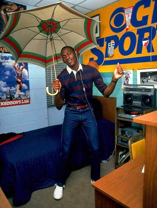Michael Jordan in college, 1983. - Dont mind his college swag!