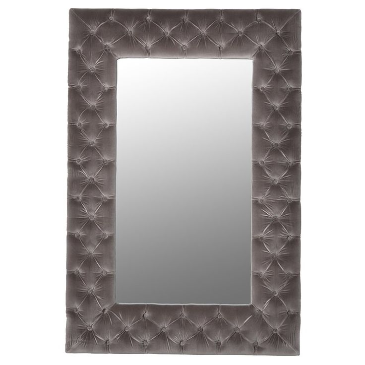 Mouse Grey velvet buttoned wall mirror. Dimensions: H: 1420mm W: 950mm £499.99