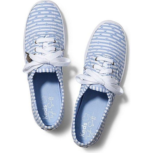 Keds Taylor Swift's Champion Daisy Seersucker ($25) ❤ liked on Polyvore featuring shoes, sneakers, flats, keds, blue daisy, lace up sneakers, blue shoes, blue flat shoes, keds shoes and flat pumps