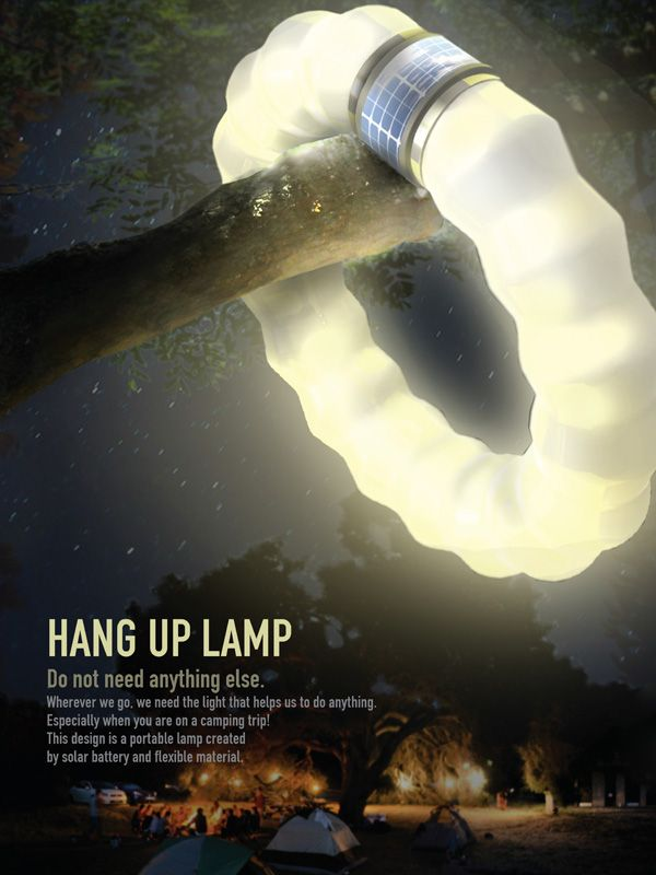 Hang Up Lamp by Jihyun Seo, Youjung An & Dayoung An - It's a flexible tube that just needs to be extended, bent and hung up. Ideal for the outdoors, the tube sources its power from the solar cells on the rim. Read more at http://www.yankodesign.com/2014/01/30/extend-bend-and-hang/#8BMDgURS3zM6pKhW.99
