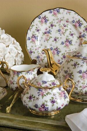 Royal Albert- Tea Set with Gold Trim; 1940s English Chintz