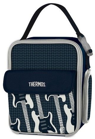 Thermos Lunch Bag with Guitar pattern. Cool electric guitar pattern. Features include a full zippered opening, an adjustable carrying strap with a clip that can be used to attach the lunch kit to a larger bag, a mesh bottle pocket on the side that can be zipped closed when not in use, and an exterior pocket on the front for additional storage. Premium foam insulation will keep lunches cooler and fresher throughout the day.