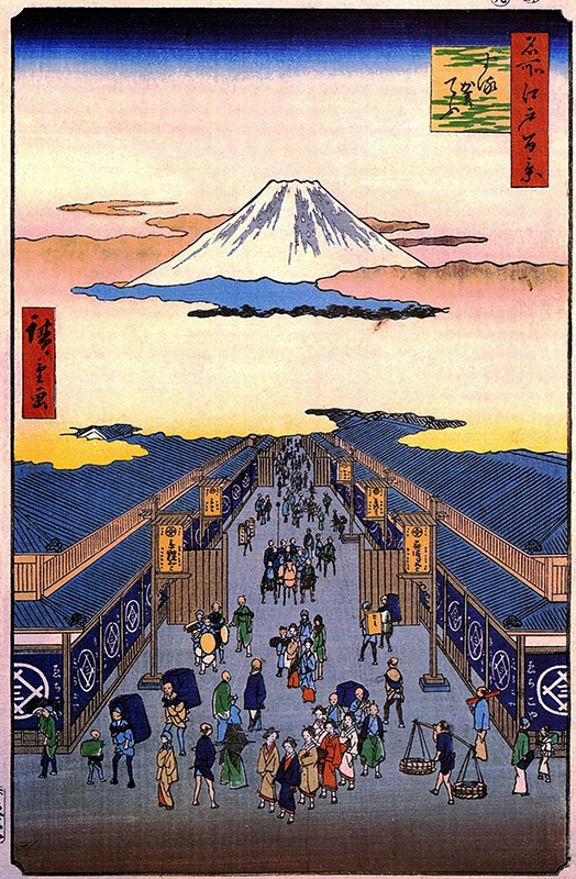 Hiroshige. Nihonbashi, Clearing After a Snow, from One Hundred Views of Edo.