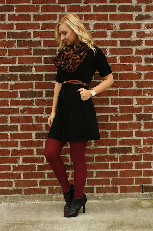 Black Dress Maroon Tights Leopard Scarf All I Need Is