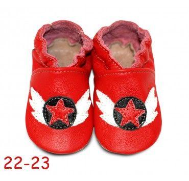 Chaussons bébé cuir souple rouge rock it red