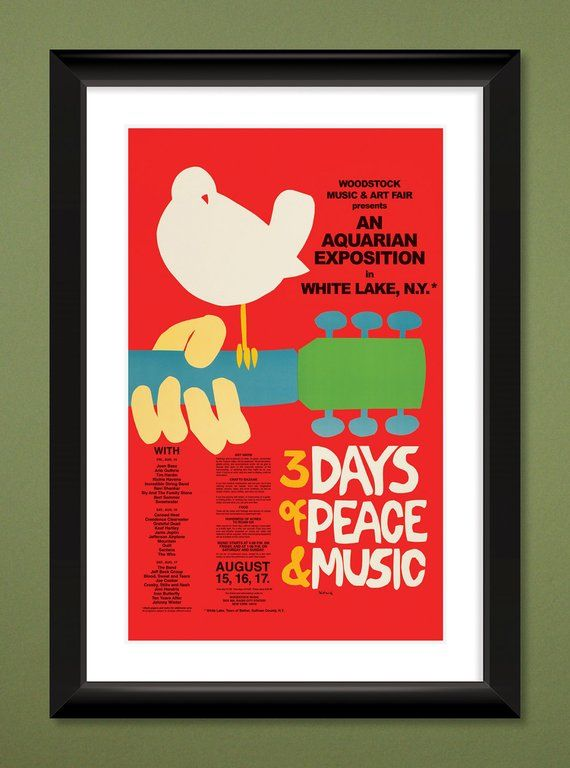 Woodstock 1969 Concert Poster Heavyweight Art Print 12x18