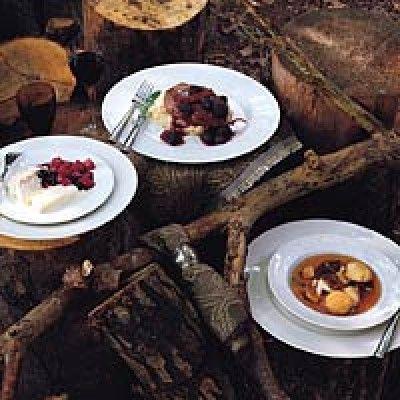 Struisvogelbiefstuk met cranberry's  is een lekker recept en bevat de volgende ingrediënten: 200 gr verse cranberry's, 3 eetl bruine basterdsuiker, 2 appels, 4 sjalotten, 300 gr paddestoelen, 2 eetl boter, 4 struisvogelbiefstukken, 1 dl wildfond, 2 dl slagroom, peper & zout