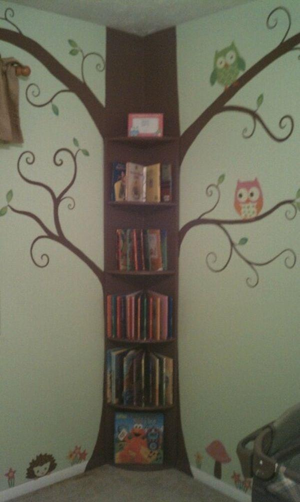 tree bookshelf on the corner