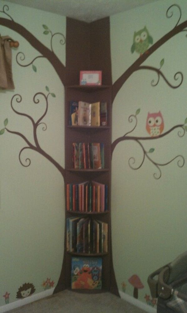 tree bookshelf on the corner