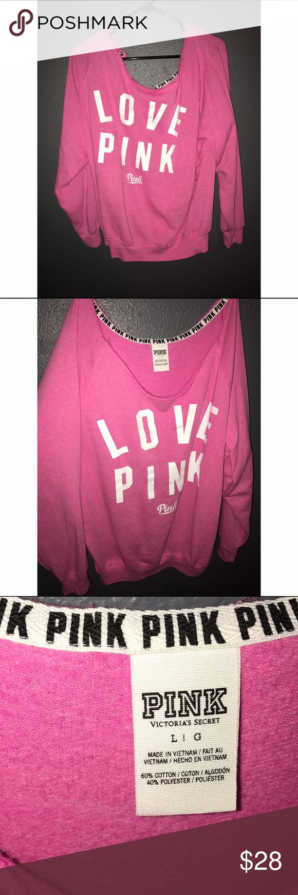 VS PINK slouchy crew Size large! Oversized fit, NEVER WORN!! PINK Victoria's Secret Tops Sweatshirts & Hoodies