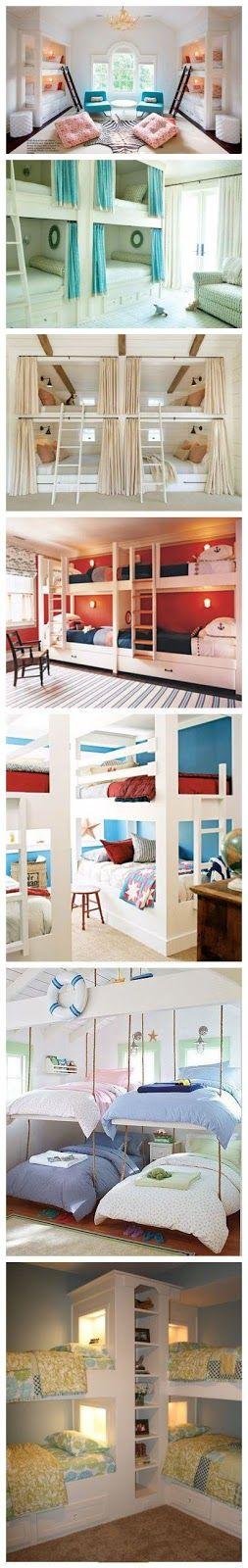 Decorar quartos com beliche é uma solução para espaços pequenos principalmente para quartos de crianças e adolescentes ou casas de praia e sítio que sempre recebem muitas visitas ao mesmo tempo.