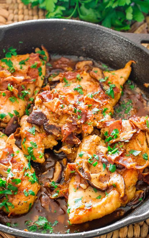 Chicken Marsala with Shitake Mushrooms and Prosciutto
