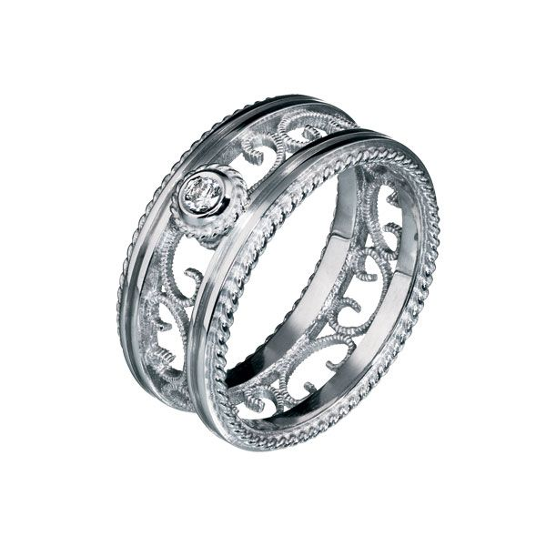 FILIGREE RING 18 carat gold, Diamond 0,06 ct W/VS or 18K white gold, Diamond 0,06 ct W/VS