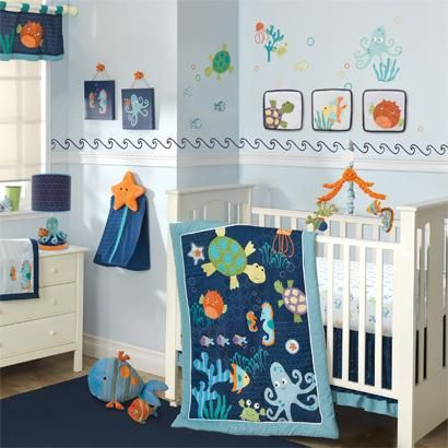 Blue Boy Crib Set Lambs Ivy Bubbles