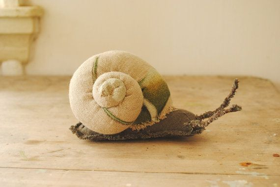 Love her creations, especially her snails!   snail fabric sculpture / upcycled / textile art / by willowynn,