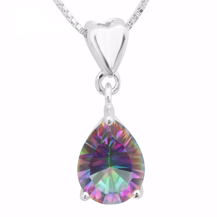 2ct Natural Mystic Fire Rainbow Topaz Pendent Necklace Charm, Solid 925 Sterling Silver Necklace For Girls from VS Crazy Deals
