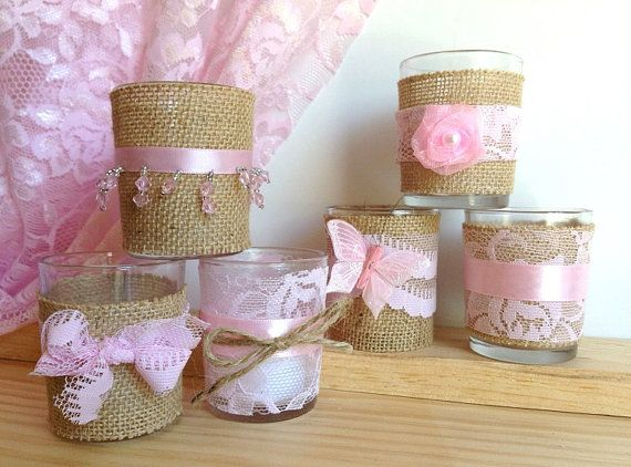 pink burlap lace candles perfect for bridal shower or wedding decoration