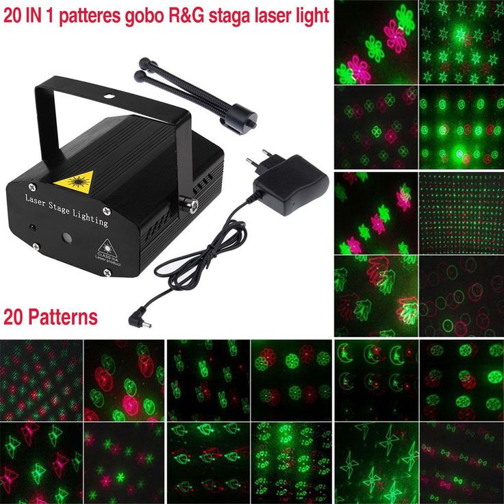 Red Green LED Stage Lamp AC110-240V LED Laser Light Projector Adjustment with Tripod Patterns Voice-activated for DJ Disco