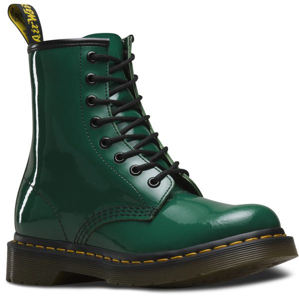 Dr. Martens 1460 Patent ($125) ❤ liked on Polyvore featuring shoes, boots, forest green, roll up shoes, dr martens boots, patent leather shoes, forest green shoes and dr martens footwear