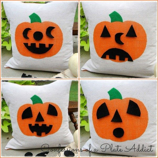CONFESSIONS OF A PLATE ADDICT: Halloween Fun...Jack-o-Lantern Pillow with Interchangeable Faces LOVE THE FACES HERE!!!!