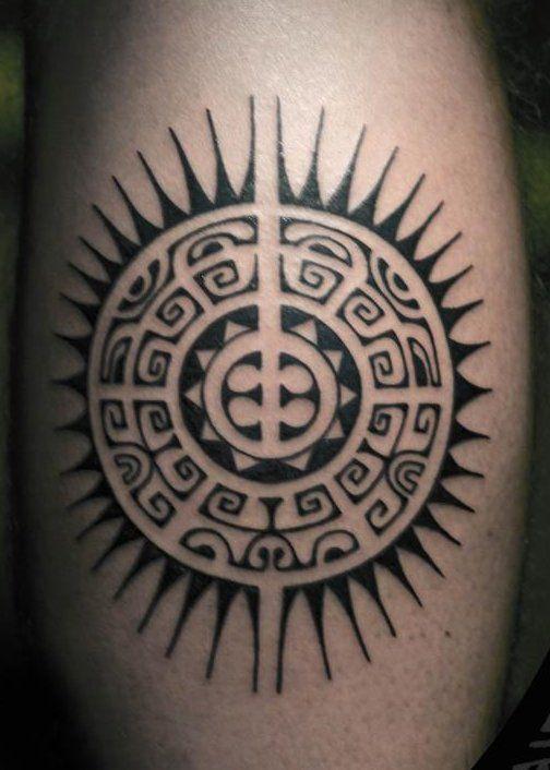 Geometric Tattoo Sun Ideas