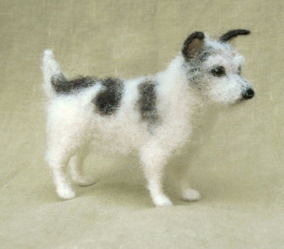 Custom needle felted pose-able miniature sculpture of your dog. (The Jack Russell pictured is a past commission and is just an example.) For a larger