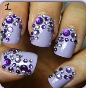 Love these purple and glitz prom nails prom pinterest