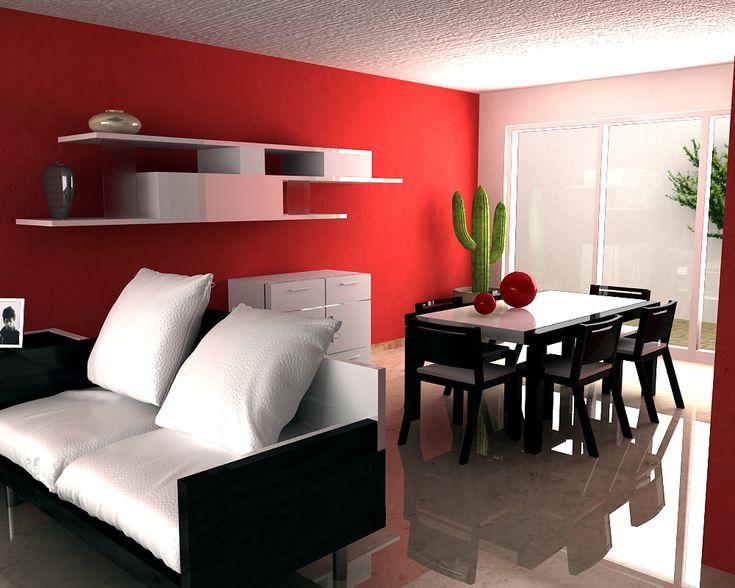 Casa rojo inspiraci n de dise o de interiores salones for Decoracion casas pequenas interiores