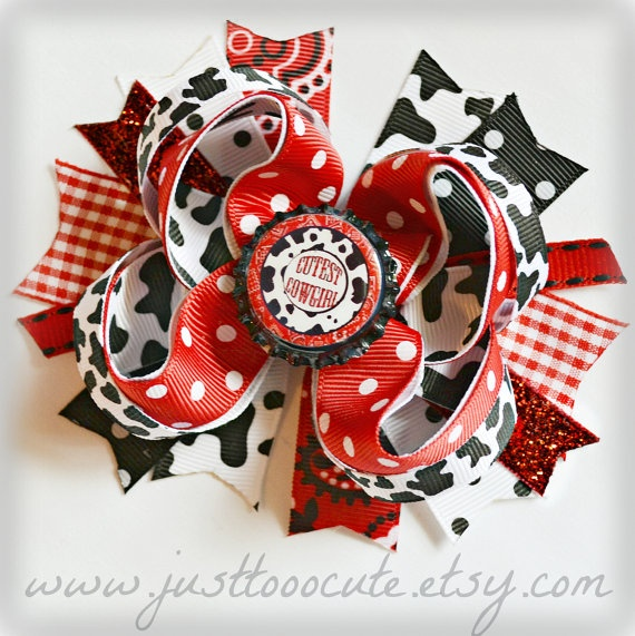 Lil' Country Girl Bottlecap Boutique Bow in Cow by justtooocute, $8.25: Bottlecap Boutique, Country Girls, Boutique Bows