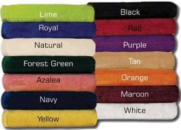 custom embroidered beach towels in bulk, black, maroon, red, lime, navy, forest