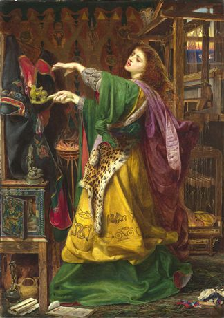Morgan le Fay, Frederick Sandys.  Morgan-le-Fay was an evil sorceress and the half-sister of King Arthur. Increasingly jealous of him, she attempted to disrupt his life and reign. Here she stands before a loom where she has woven an enchanted robe, meant to engulf King Arthur in flames. A lamp is passed over it while she chants her spell. Sandys met the model for Morgan-Le-Fay, Keomi, in a gypsy camp in Rome. Very little is known about her but they are believed to have been lovers.