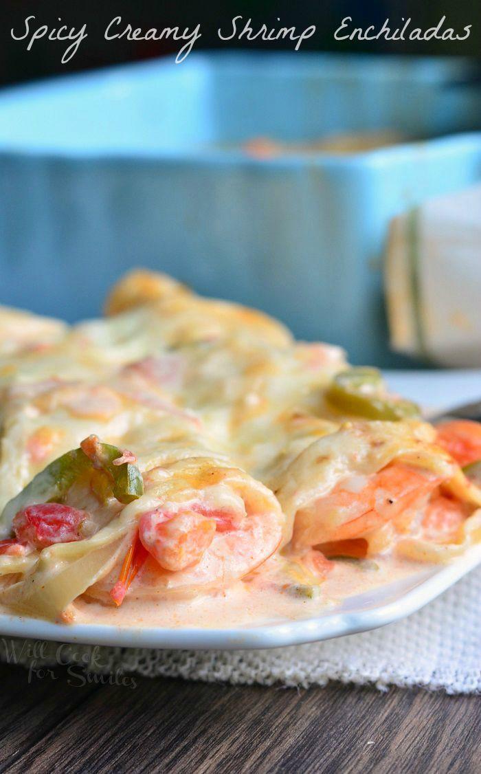 Spicy Creamy Shrimp Enchiladas   from willcookforsmiles.com #seafood #shrimp #dinner